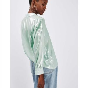 Topshop Metallic silver elegant button down